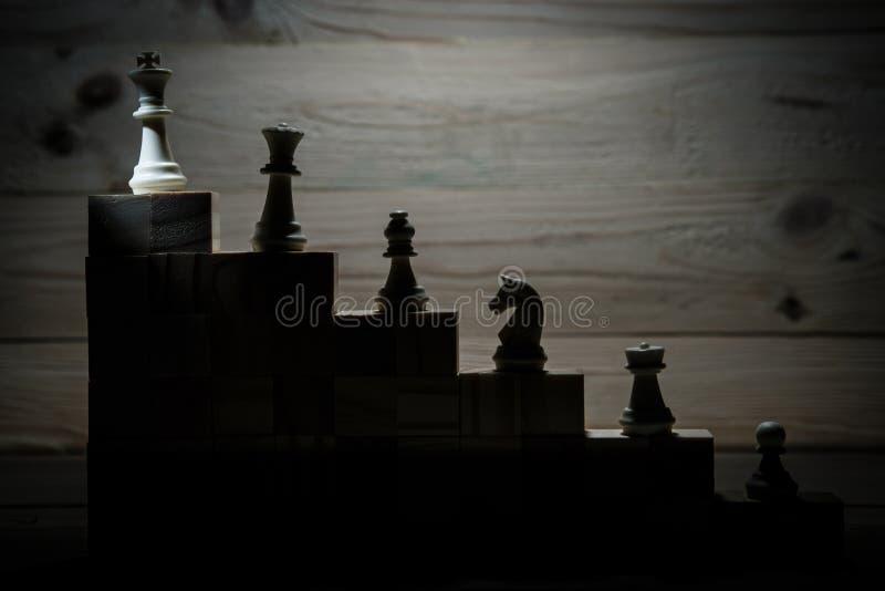 Hiérarchie d'affaires Concept de stratégie avec des pièces d'échecs image libre de droits