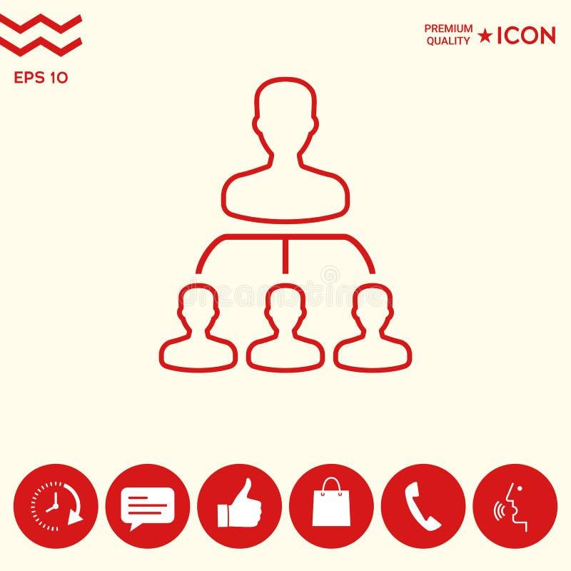 Hiérarchie - ligne icône illustration de vecteur
