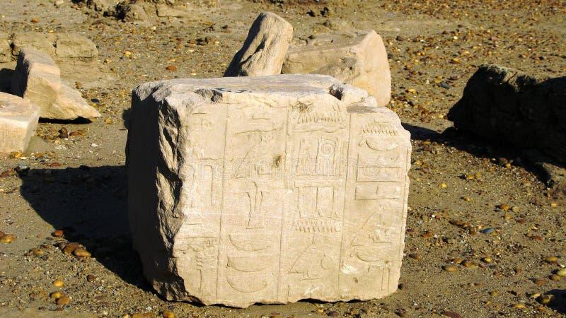 Hiéroglyphe sur des ruines de forteresse à l'île de Sai, le Nil, Soudan images stock