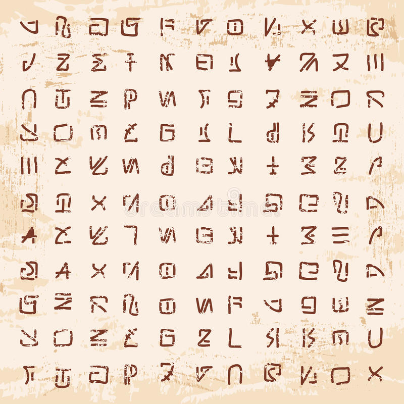 Hiéroglyphes étrangers découpés dans la pierre illustration libre de droits