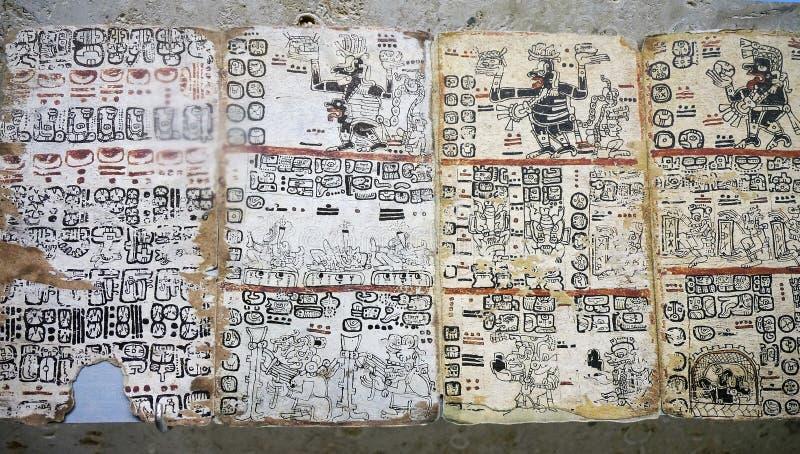 Hiéroglyphes chez Museo del Mundo Maya en Merida Mexico images libres de droits