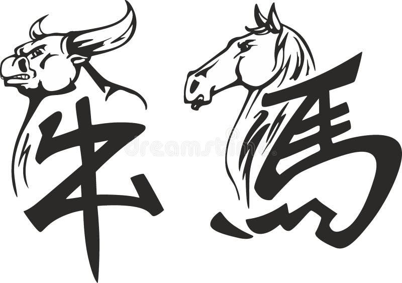Hiéroglyphes chinois de taureau et de cheval illustration de vecteur