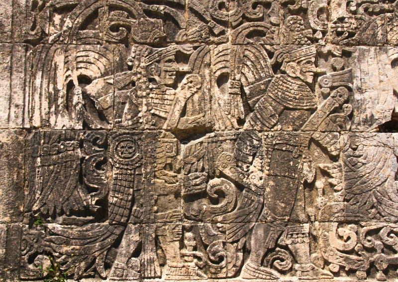 Hiéroglyphes de Chichen Itza image libre de droits