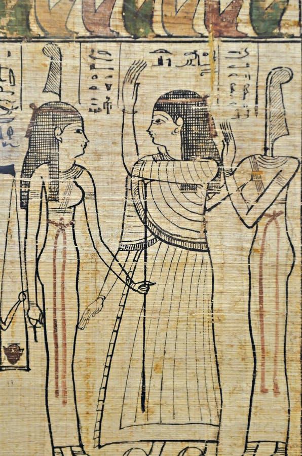 Hiéroglyphes en papyrus égyptien photo stock
