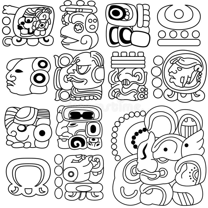 Hiéroglyphes maya illustration libre de droits