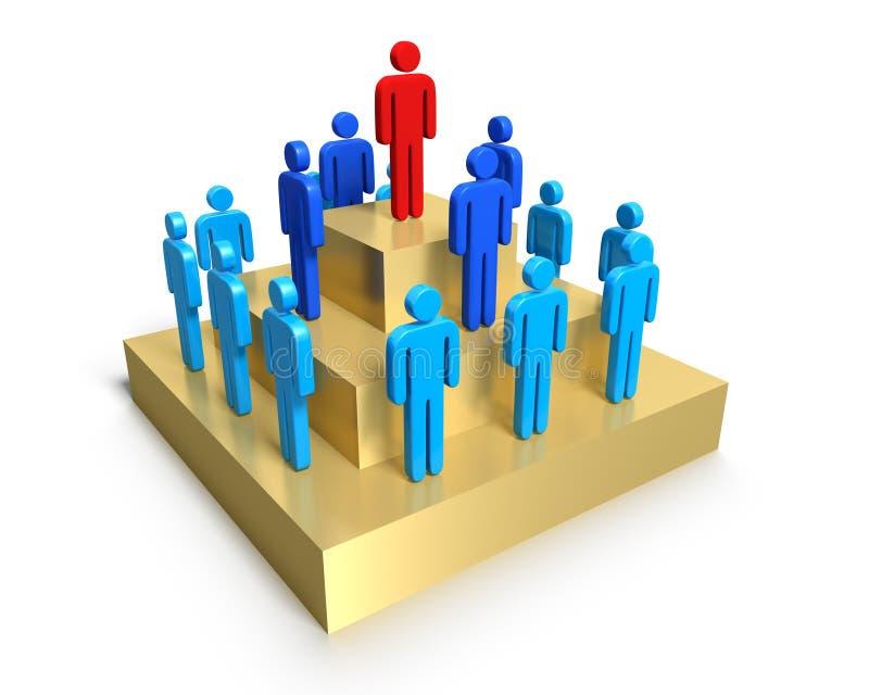 Hiërarchie van mensen op voetstuk. stock illustratie