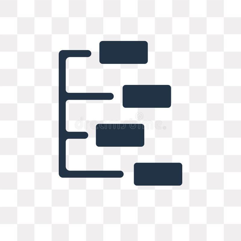 Hiërarchisch structuur vectordiepictogram op transparante backg wordt geïsoleerd vector illustratie