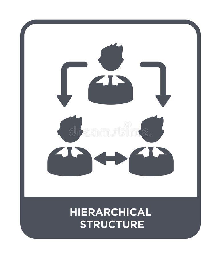 hiërarchisch structuurpictogram in in ontwerpstijl Hiërarchisch die structuurpictogram op witte achtergrond wordt geïsoleerd hiër stock illustratie