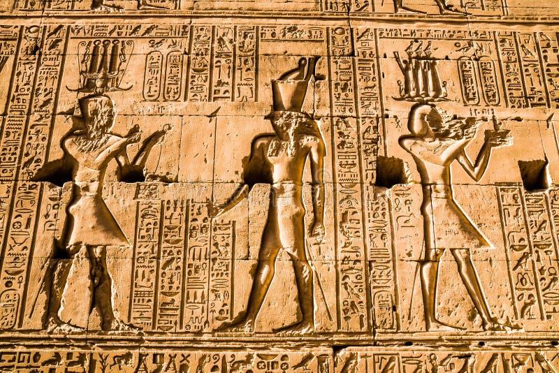 Hiërogliefen in de Tempel van Horus, Edfu royalty-vrije stock afbeeldingen