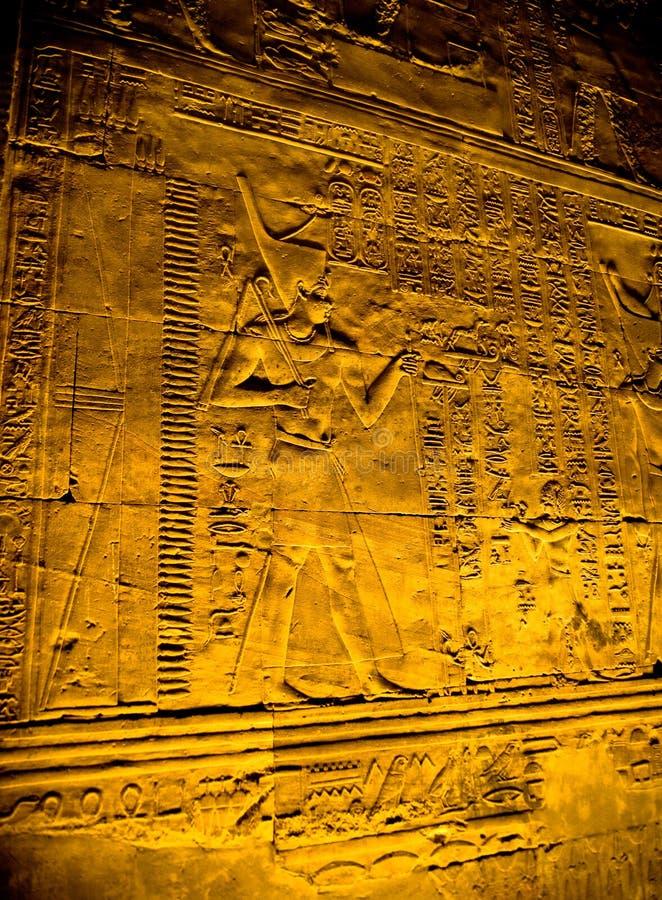 Hiërogliefen in de Tempel van Horus, Edfu royalty-vrije stock afbeelding