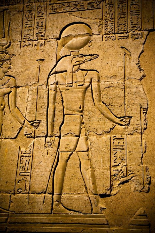 Hiërogliefen in de tempel van Kom Ombo stock afbeelding