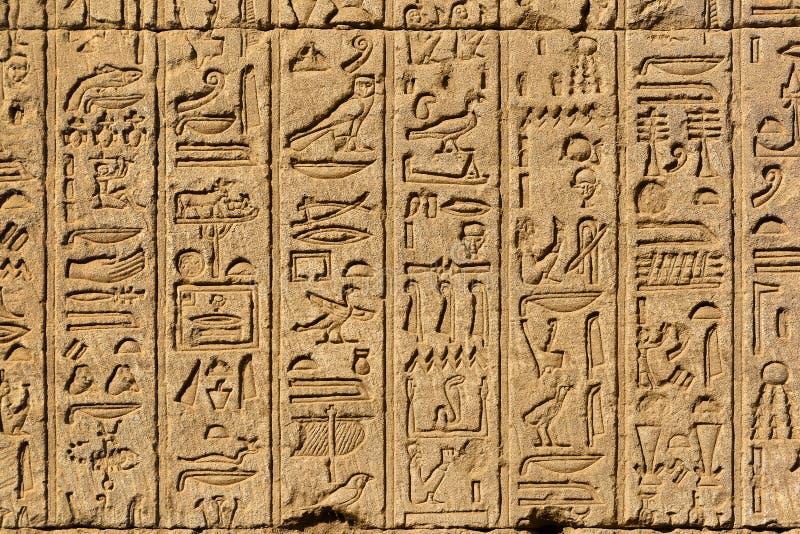 Hiëroglyfische gravures in oude Egyptische tempel stock fotografie