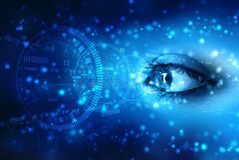 Hi развертка безопасностью техника биометрическая, закрывает вверх глаза женщины в процессе сканированию с цифровым интерфейсом h иллюстрация штока