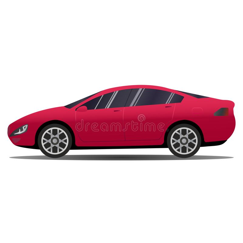 Hi-detailed Blank red Passenger Car Business and Station Wagon Car - isolated on white background. Passenger City royalty free illustration