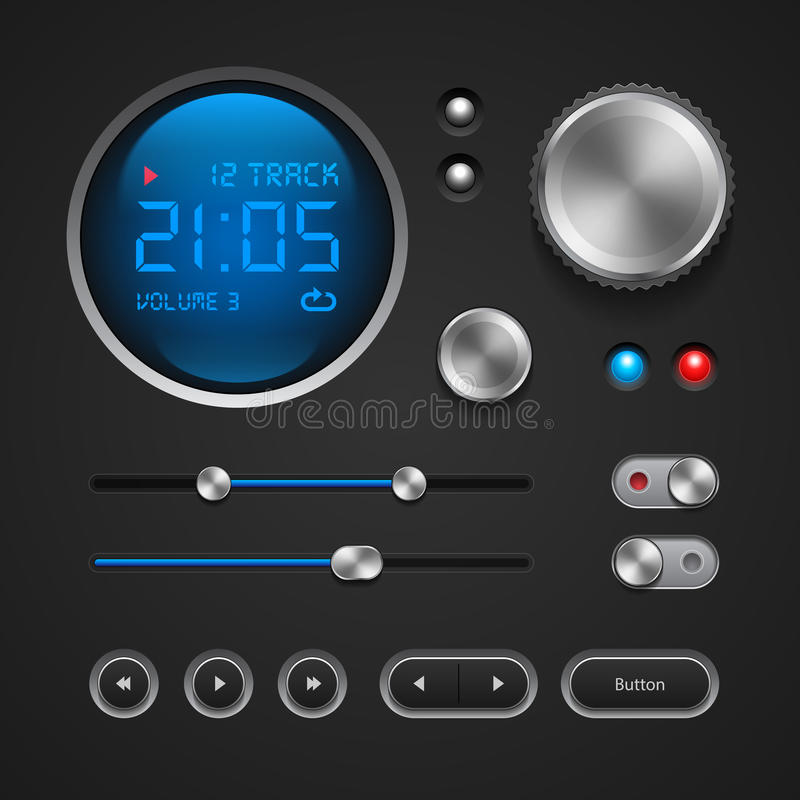 Hi-End User Interface Elements: Buttons, Switchers, On, Off, Player, Audio, Video. Hi-End User Interface Elements: Buttons, Switchers royalty free illustration