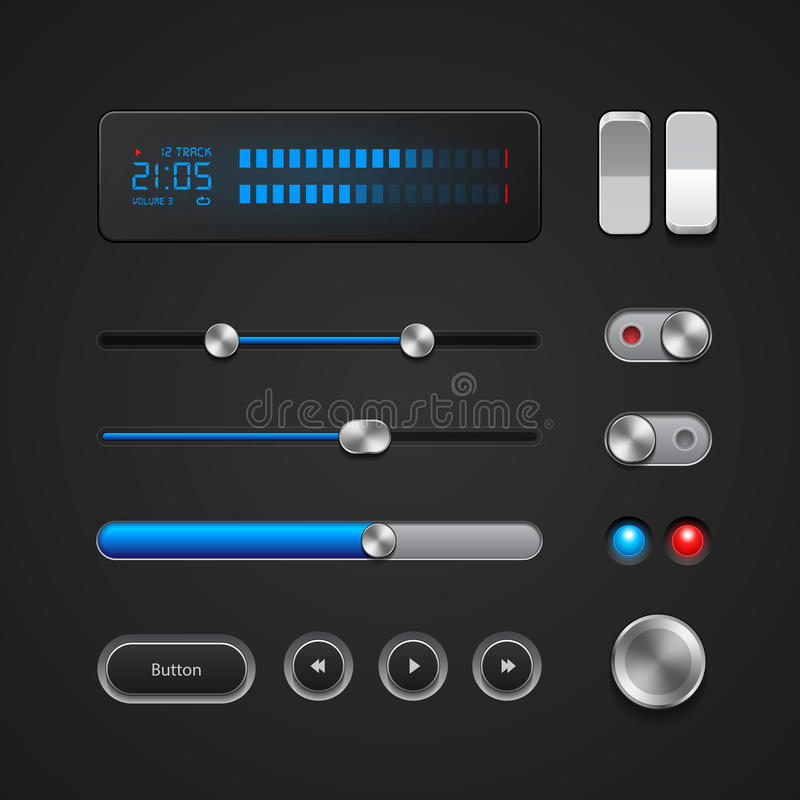 Hi-End User Interface Elements. Buttons, Switchers, On, Off, Player, Audio, Video: Play, Stop, Next, Pause, Volume royalty free illustration