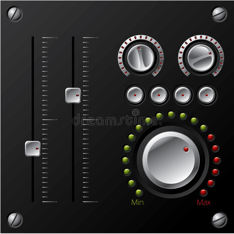 Download Hi-fi knobs with LED stock vector. Illustration of settings - 12079354
