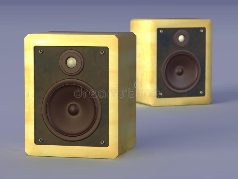 Hi-fi speakers. Audio speakers in a wooden case. CG illustration stock illustration