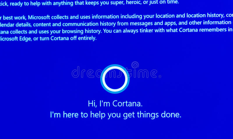 Hi, I`m Cortana -message on computer display during windows 10. PARIS, FRANCE - JAN 7, 2016: Hi, I`m Cortana -message on computer display during windows 10 royalty free stock images