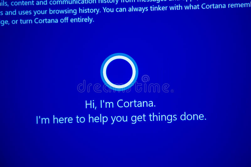 Hi, I`m Cortana -message on computer display during windows 10. PARIS, FRANCE - JAN 7, 2016: Hi, I`m Cortana -message on computer display during windows 10 stock image