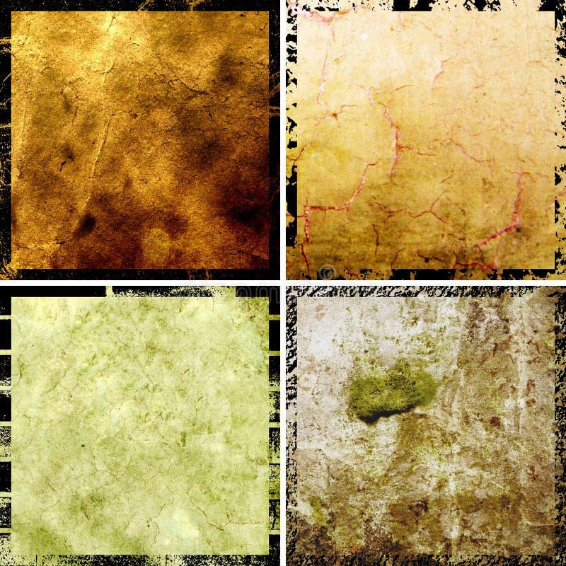 Hi-res abstract grunge backgrounds set. Raster illustration stock illustration
