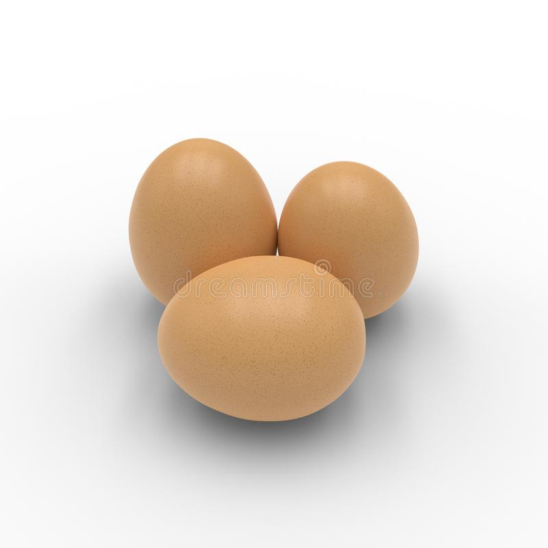 3D render of three eggs isolated on white vector illustration