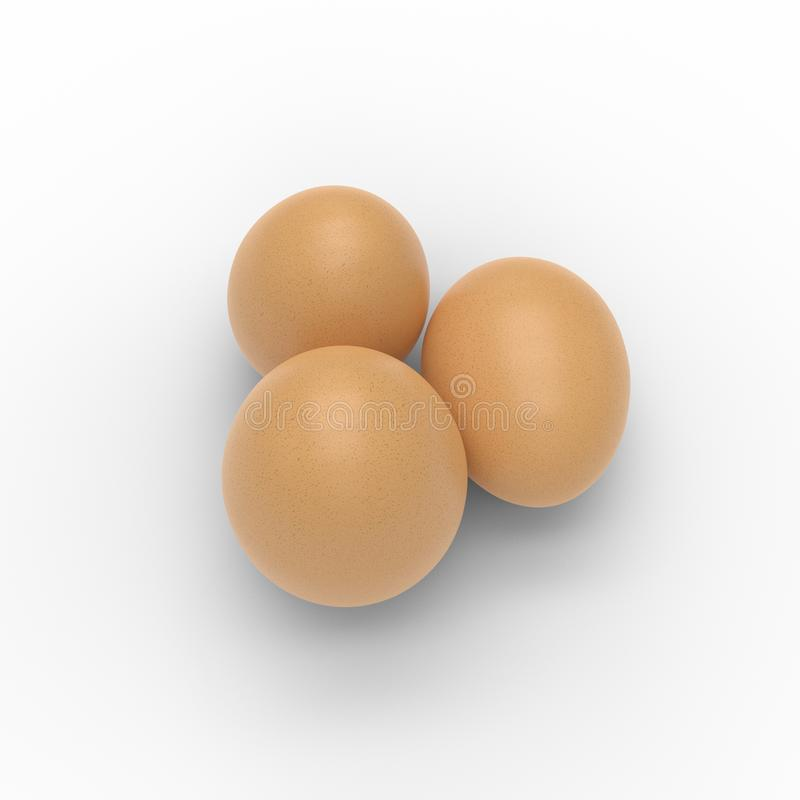 3D render of three eggs isolated on white royalty free illustration