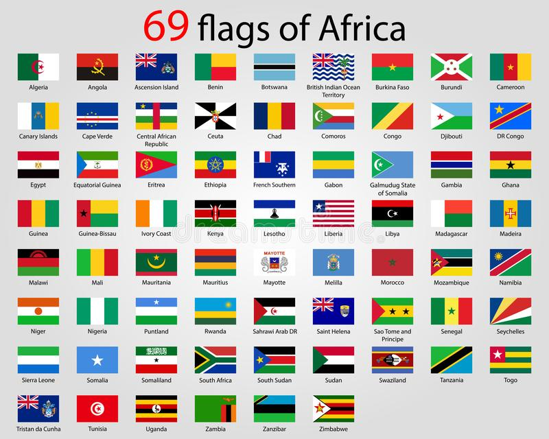 Hi skinande knappar för detaljvektor med alla afrikanska flaggor stock illustrationer