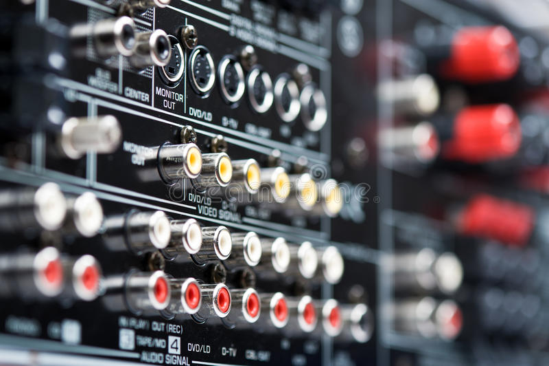 Hi-Tech AV receiver's connectors royalty free stock image