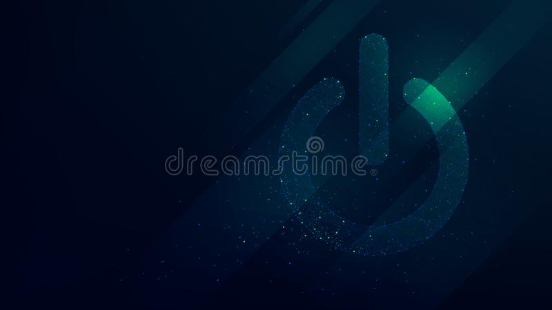 Hi-tech background with power button, future technology royalty free illustration