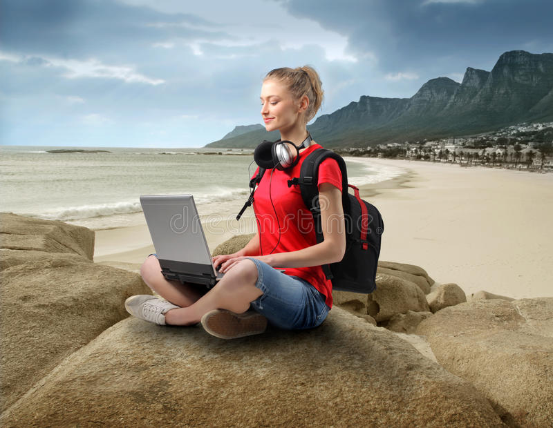 Download Hi-tech at the beach stock photo. Image of internet, female - 13093930