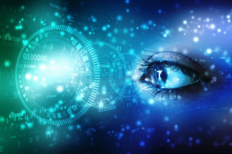 Hi tech biometric security scan, Close up of woman eye in process of scanning with digital business hud interface. Close up of woman eye in process of scanning royalty free illustration