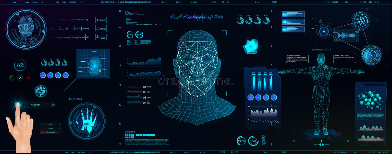 Hi-tech Biometrisch Identificatie en erkenningssysteem van persoon vector illustratie