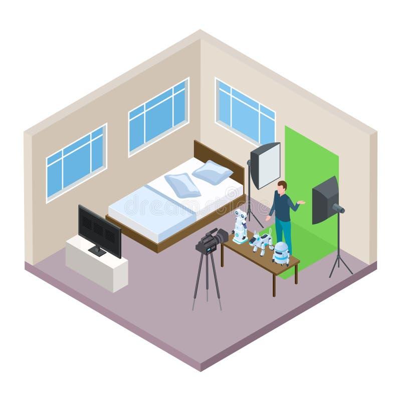Hi-tech blogger making video isometric vector concept vector illustration