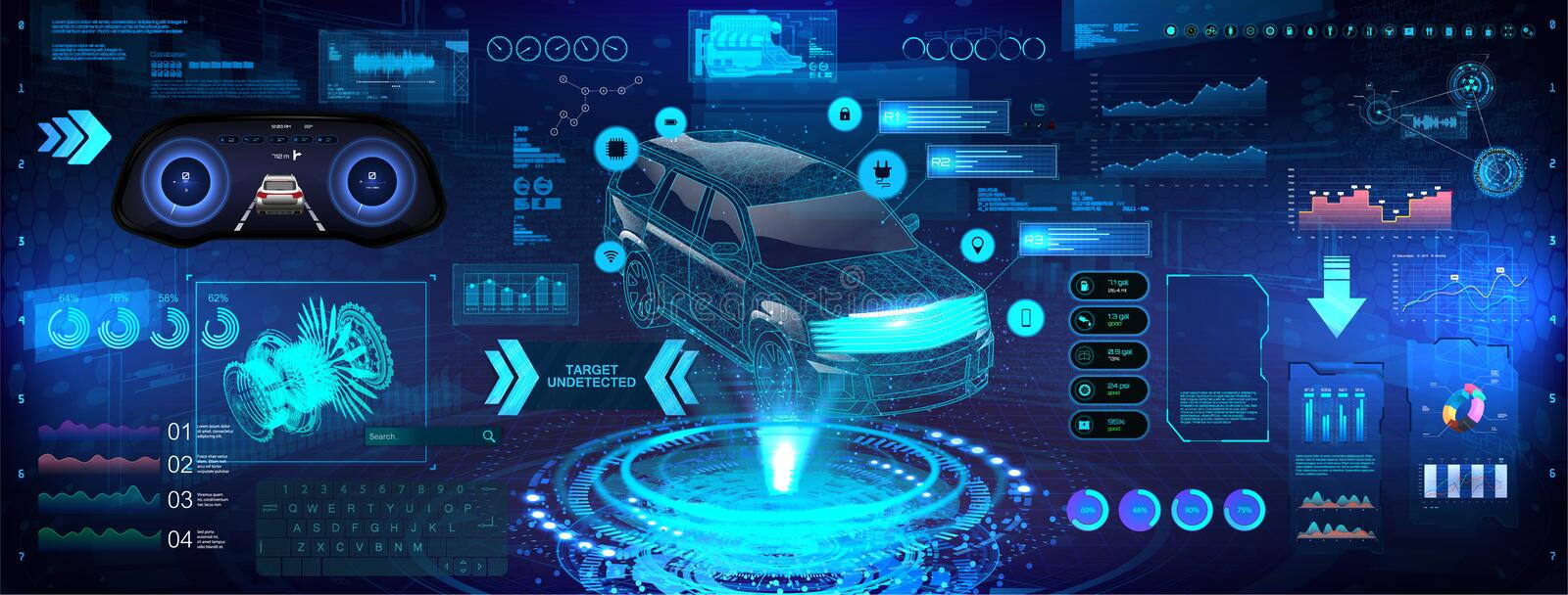 Hi-tech Car analysis and diagnostics in HUD style. 3D Crossover X-ray car hologram, automotive projection, hardware diagnostics condition of car. HUD graphic vector illustration