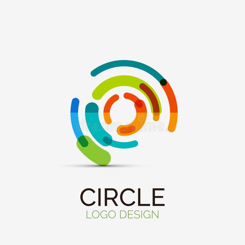Hi-tech circle company logo, business concept vector illustration