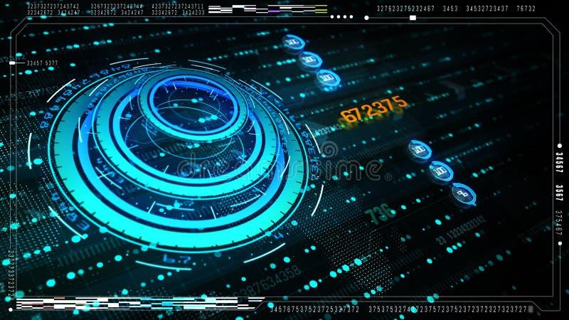 Hi-Tech futuristisch gebruikersinterfacehoofd op het vertoningsscherm met digitale gegevens en informatievertoning voor digitale  vector illustratie