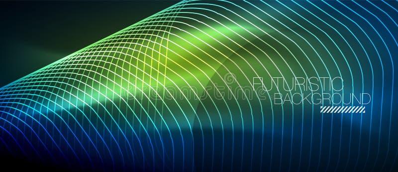 Hi-tech futuristische technoachtergrond, neonvormen en punten royalty-vrije illustratie
