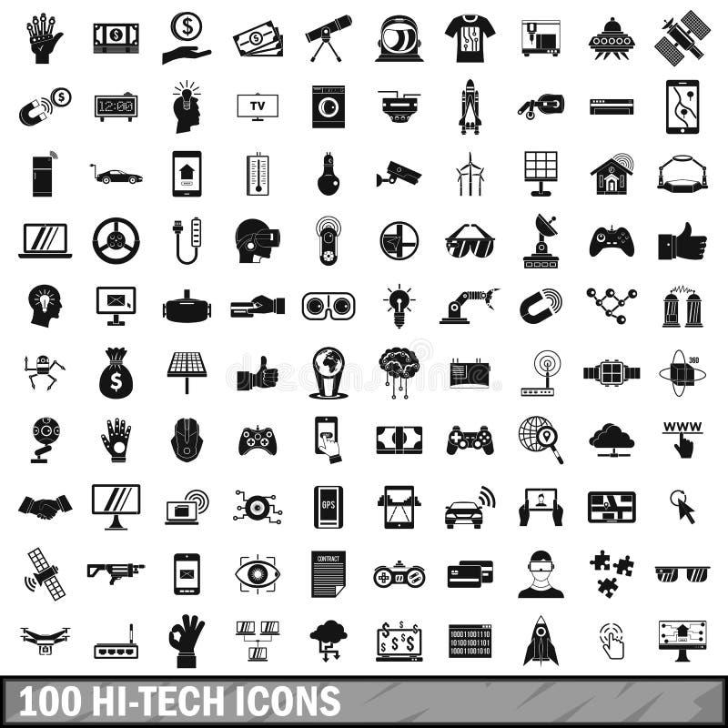 100 hi-tech geplaatste pictogrammen, eenvoudige stijl royalty-vrije illustratie