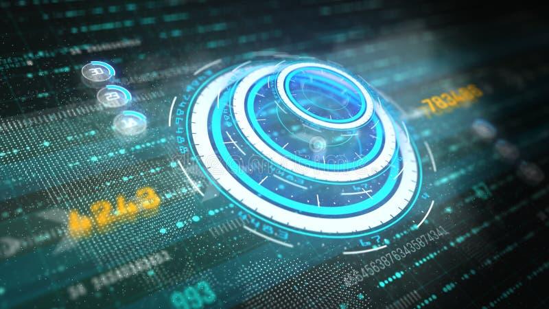 Hi-Tech grafisch futuristisch gebruikersinterfacehoofd op het vertoningsscherm met digitale gegevens en informatievertoning voor  royalty-vrije illustratie