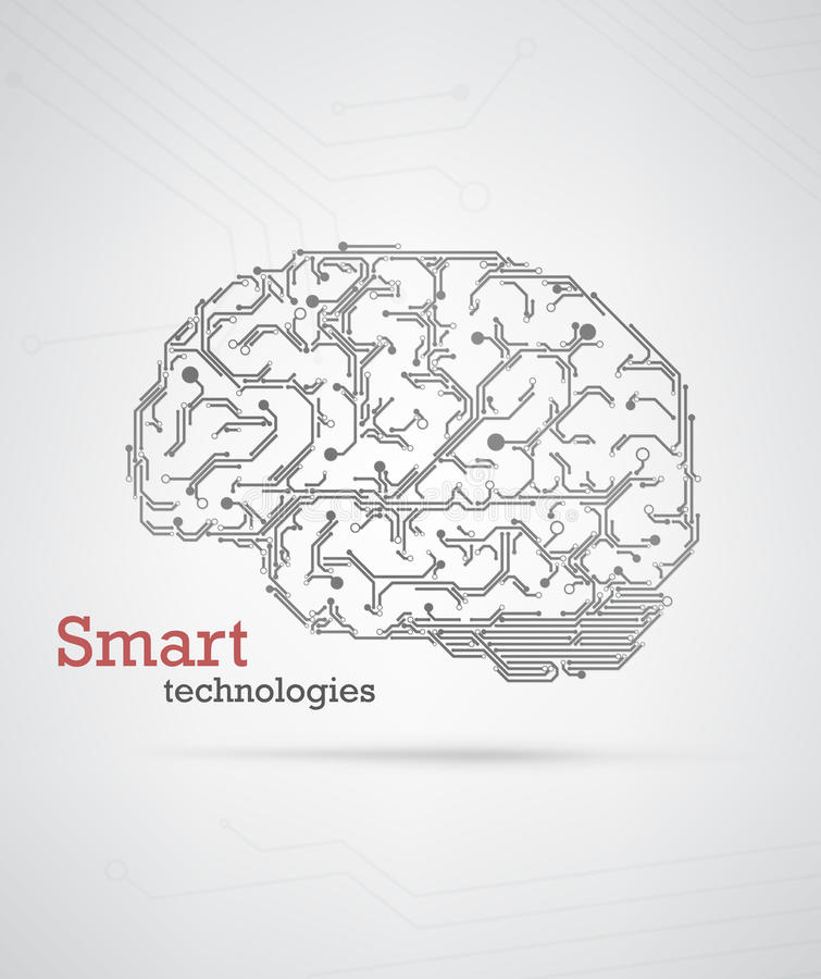 Hi-tech hersenen stock illustratie