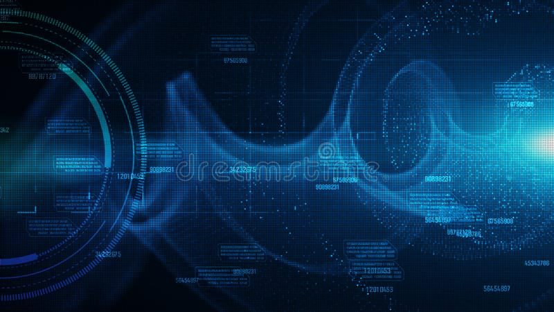 Hi-tech HUD en gegevens met blauw de stroom toekomstig van kleuren digitaal deeltjes concept als achtergrond royalty-vrije illustratie