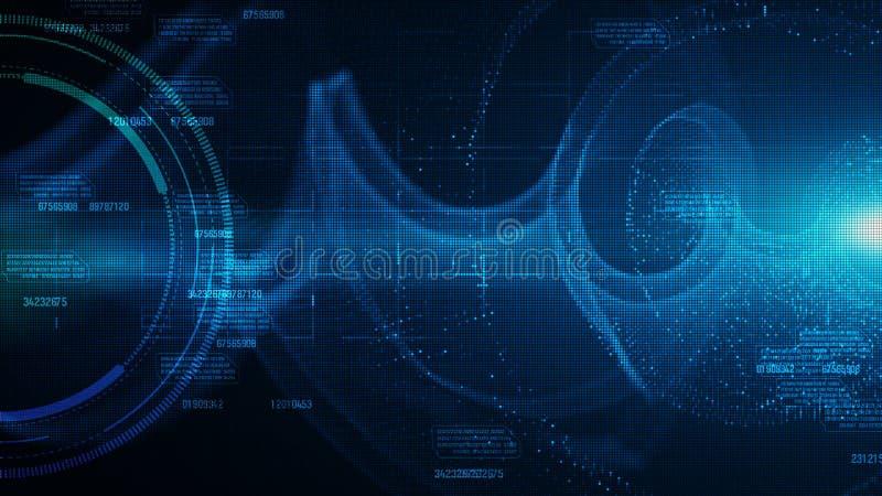 Hi-tech HUD en gegevens met blauw de stroom toekomstig van kleuren digitaal deeltjes concept als achtergrond vector illustratie