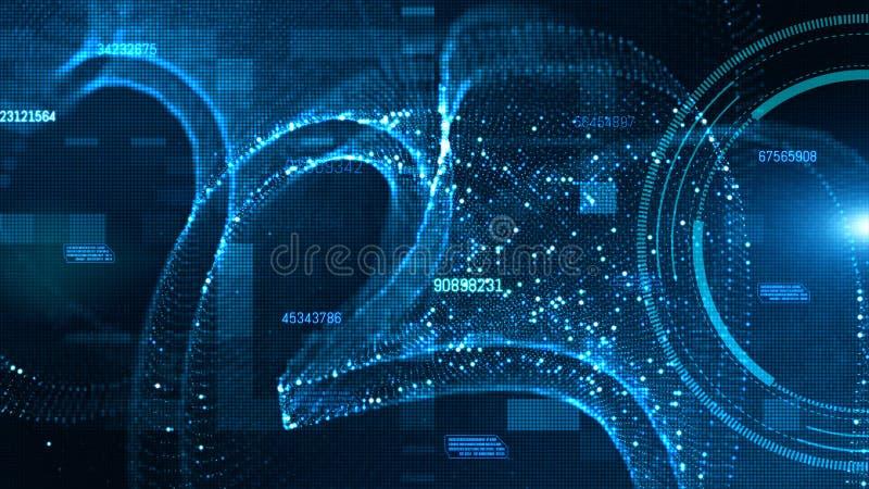 Hi-tech HUD en gegevens met blauw de stroom toekomstig van kleuren digitaal deeltjes concept als achtergrond stock illustratie