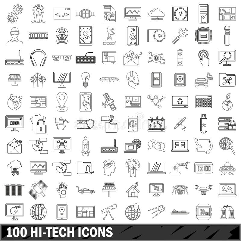 100 hi-tech icons set, outline style vector illustration