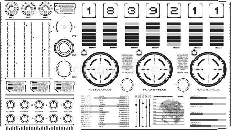 Hi-tech interface op lichte achtergrond Ontwerpelementen voor hud, gebruikersinterface, animatie, motieontwerp stock illustratie