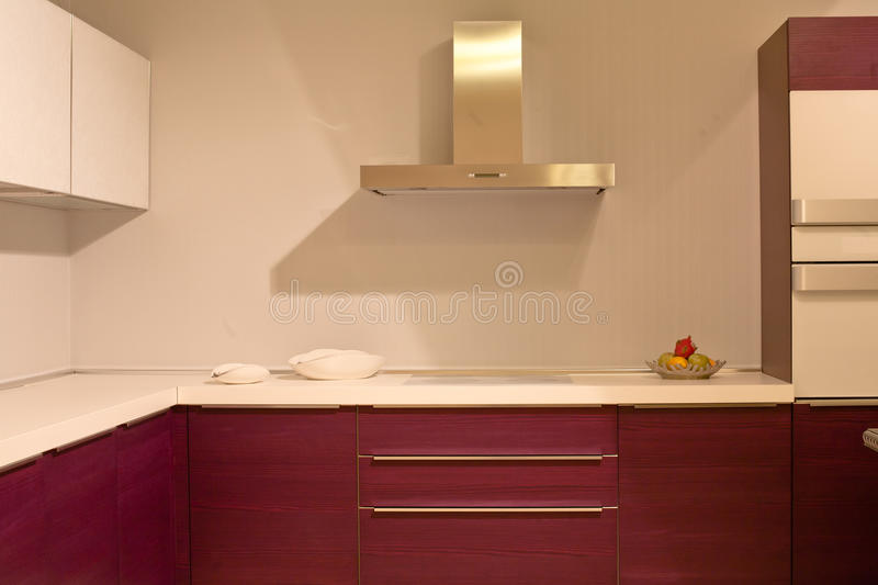Hi-tech kitchen. Hi-tech new kitchen in a minimalist style stock images