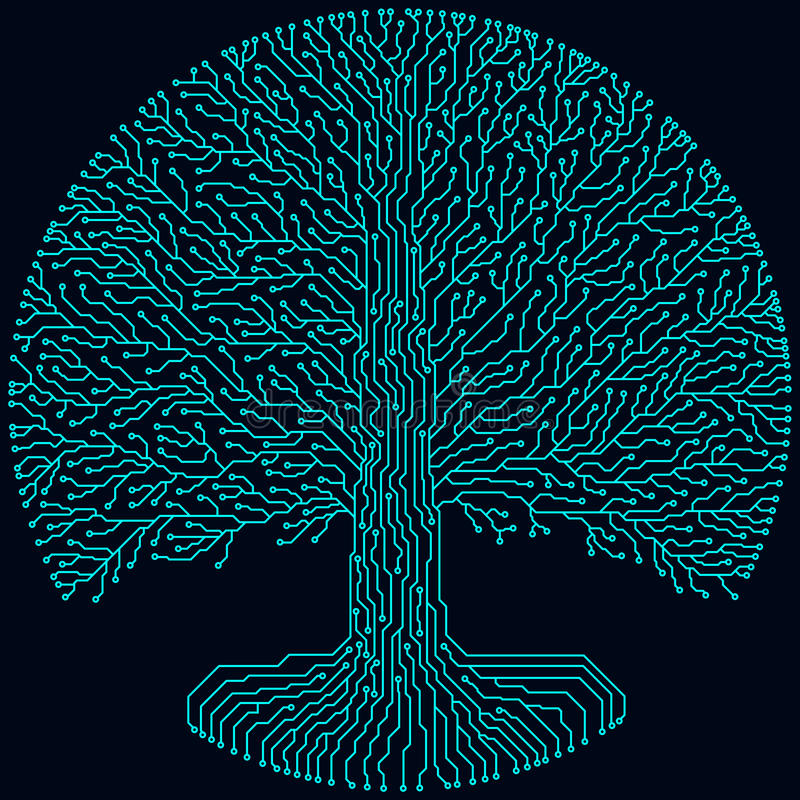 Hi-tech kringsstijl om yggdrasilboom Cyberpunk futuristisch ontwerp royalty-vrije illustratie