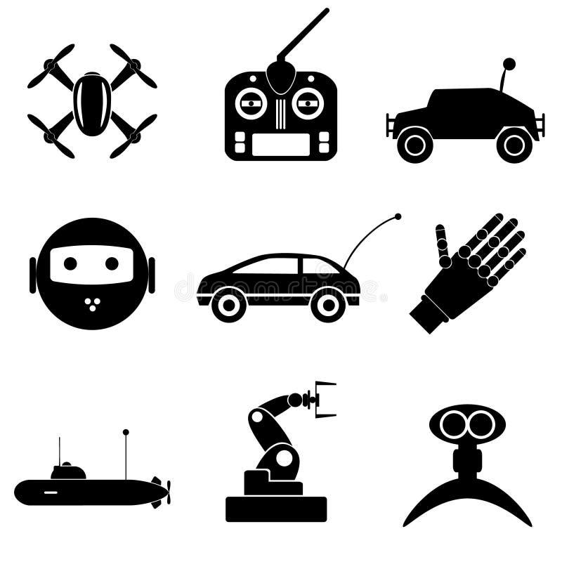Hi-tech modern technology toys simple black icons collection eps10. Hi-tech modern technology toys simple black icons collection stock illustration