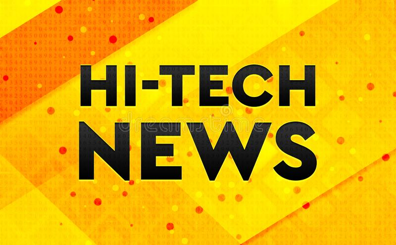 Hi-tech News abstract digital banner yellow background stock illustration